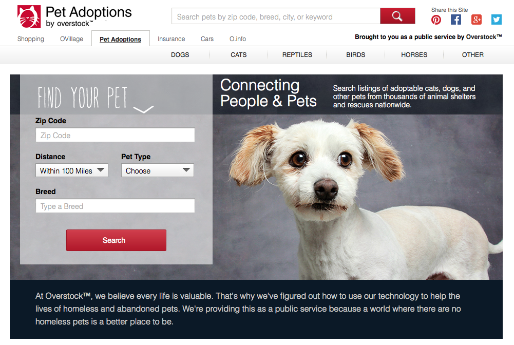 Overstock.com Pet Adoption